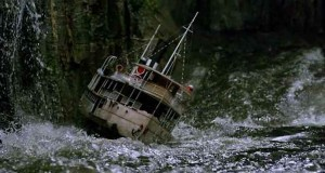 Broken ship on the ocean